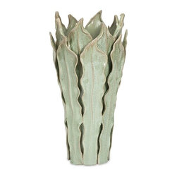 IMAX CORPORATION - Watkins Sea Leaf Vase - Large - Individually formed and applied leaves reinvent a standard vessel shape, while a soft green reactive glaze adds depth to the surface of the Watkins Sea Leaf Vase. Find home furnishings, decor, and accessories from Posh Urban Furnishings. Beautiful, stylish furniture and decor that will brighten your home instantly. Shop modern, traditional, vintage, and world designs.