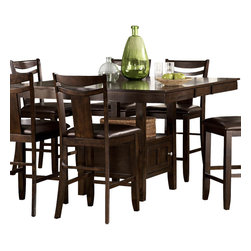 Homelegance - Homelegance Broome Counter Height Table with Storage Base in Dark Brown - With just a hint of craftsman styling and a defined transitional look, the Broome collection provides you and your family ample space to enjoy your time together. The dark brown finish on hardwood veneers adds to the classic look of the collection. The counter height tabletop expands to seat eight comfortably and is supported by a storage base. The warm brown bi-cast vinyl seats of the chairs blend effortlessly with the table's warm finish.