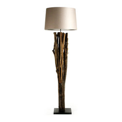 "Kathy Kuo Home - Catico Modern Rustic Vine Wood 70"" Floor Lamp - One can never treasure nature enough, and the Catico Floor Lamp ensures that you won't forget the fact.  Supported by a black wood base, this lamp is made of natural vine and wood and topped by a light taupe polysilk shade.  A striking combination of rustic and modern, this lighting option will find its place amongst a variety of interiors."