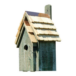 Heartwood - Bluebird Manor Cypress Wood Birdhouse Grey - The  Bluebird  Manor  Birdhouse  is  constructed  from  solid  cypress  wood  and  includes  a  handemade  roof  featuring  stone-washed  shingles.  The  rustic  wood  body  of  the  birdhouse  is  painted  dove  gray.  Perfect  for  your  garden  or  even  as  decor  inside  of  your  home,  this  whimsical  bird  house  has  solid  copper  trim  with  an  easy-access  door  that  hinges  open  so  that  you  can  clean  it  easily,  or  even  view  the  inhabitants.  Great  ventilation,  and  designed  for  drainage,  this  model  includes  a  paddle  so  you  can  hang  it  from  almost  any  surface.          Product  Details:                  8  8  x  16              1.5  inch  hole              available  in  several  colors              Handcrafted  in  USA  from  renewable,  FSC  certified  Cypress  wood