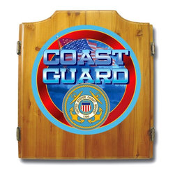 Trademark Global - Fully Equipped Dart Cabinet w United States C - Display your patriotic pride in your game room or bar area with this stylish pine dart cabinet, featuring the United States Coast Guard logo on the front cabinet doors. Inside, the cabinet features a dart board, two sets of darts and a dry erase scoreboard with markers and an eraser. Includes dartboard, 6 darts, scoreboard, out chart, marker and mounting brackets. Full color logo displayed on front of cabinet. Full color logos also displayed above the scoreboards inside the cabinet doors. Bristle dartboard. 2 Set of darts. Solid wood cabinet. Medium wood finish. 23.25 in. W x 3.50 in. D x 21.25 in. H (30 lbs.)This US Coast Guard Officially Licensed Dart Cabinet includes a quality dart board and darts.
