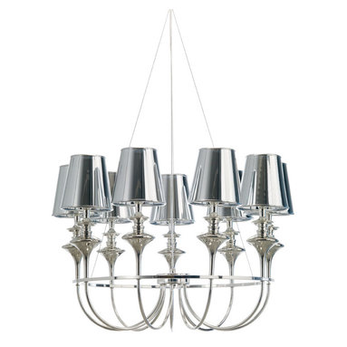Getty 9 Light Chandelier by Nuevo Living - Getty 9 light chandelier features chrome PVC shades and silver conduit and canopy. 30.5 inches field adjustable cable. Nine 40 watt, 120 volt, B10, candelabra lamps, not included. General light distribution.