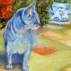 """""""Le Chat Bleu (The Blue Cat)"""" (Original) By Chris Brandley - My Daughter And I Took A """"Mother/Daughter"""" Trip To New Braunfels, Tx. This Sweet Cat Was Our Pet Away From Home. He Kept Us Company At The Bed And Breakfast We Stayed In. I Did Take Artistic License On The Colors .."""