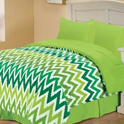 Chic Home Microfiber Reversible Comforter - Missy - Zesty green chevrons give the Chic Home Microfiber Reversible Comforter - Missy its style. Perfect in your girl's bedroom, dorm, or even a sweet guest suite, this comforter goes from vivid green chevrons on one side to a solid, spring green on the reverse. Twice the style! It's made of ultra soft microfiber, has a lightweight, comfy polyester fill, and is machine-washable. Comes in your choice of size.