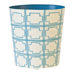 Worlds Away Oval Wastebasket, Turquoise and Cream Square Design - Oval Wastebasket, turquoise and cream