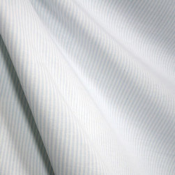 Roth - Essex Powder Blue White Pinstripe 100% Cotton Drapery Fabric By The Yard - This 100% Cotton fabric from Roth has a pale blue and white stripe pattern.  The stripes are approximately 1/16 inch wide.  Use this fabric for window treatments, bedding, pillows and more.