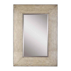 """Uttermost - Langford Natural Wood with Light Gray Wash Mirror - This stately mirror features a generous 10"""" wide frame with a heavily distressed natural wood finish and a light gray wash. Mirror has a generous 1 1/4"""" bevel."""
