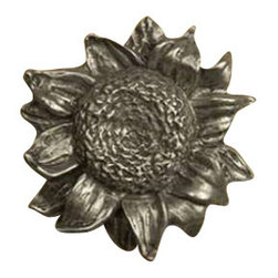 Anne at Home Hardware - Sunflower Knob, Black w/ Verde Wash - Made in the USA - Anne at Home customized cabinet hardware enables even the most discriminating homeowner to achieve the look of their dreams.  Because Anne at Home cabinet hardware is designed to meet your preferences, it may take up to 3-4 weeks to arrive at your door. But don't let that stop you - having customized Anne at Home cabinet knobs and pulls are well worth the wait!- Drill Centers - 3  - Available in many finishes.
