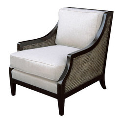 Sam Chair - Hardwood frame w/ double caning and upholstered seat and loose back pillow.