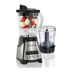 Hamilton Beach - HB Blender Food Chopper Black - From Hamilton Beach  this BlenderChef is two appliances in one with 700 Watts of peak power:  a 12 Speed Blender with 40 oz. dishwasher safe DuraBlend jar and a three cup capacity Food Chopper. Its patented Wave-Action system provides a smooth blend and  with the Stainless Steel Ice Sabre blades  ice chunks are eliminated.  Food Chopper has oil/liquid dispenser and Stainless Steel chop/mix blade.  Black.  This item cannot be shipped to APO/FPO addresses. Please accept our apologies.