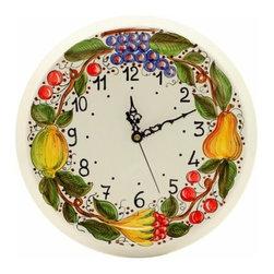 Artistica - Hand Made in Italy - Deruta: Round Wall Clock Frutta Toscana - Deruta Classic: