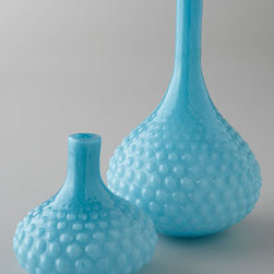 "Dwell Studios by Global Views - Dwell Studios by Global Views Large Blue Glass Bulb Vase - Holding flowers or gracing a tabletop, shelf, or mantel, these hobnail glass vases are sure to enhance any decor. Dwell Studios by Global Views. Handcrafted. Small vase, 7""Dia. x 6.75""T. Large vase, 8""Dia. x 13""T. Imported."