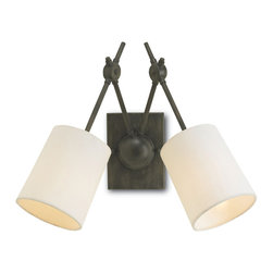 Kathy Kuo Home - Dixon Industrial Loft Style Iron 2 Light Wall Sconce - Simple, clean lines elevate this industrial wall sconce to a sleek, stylish focal point. Finished in antique iron, the rich, dark base contrasts with the airy, white linen shade.