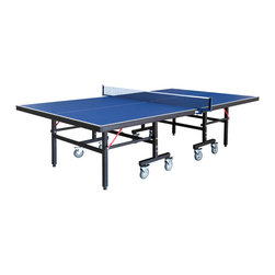 Blue Wave - Blue Wave NG2310P3 Back Stop Table Tennis Table - Carmelli; back stop table tennis with accessories this mid-grade table is packed with quality features have a blast with the Carmelli; back stop table tennis table. Back stop is built with strong 1 3/8; powder coated steel legs that make this table extremely stable and easy to play. The high grade 3; locking wheels make moving back stop quick and easy. The heavy duty thick MDF playing surface is coated with 16 layers of high quality coating that ensures a uniform, consistent bounce. The table folds at the center for individual practice. Both ends of the table fold up for compact storage when not in use. An easy to use, unique safety mechanism locks the table during normal play or storage. Back stop comes complete with 2 table tennis paddles and 2 balls. Quality Carmelli; features include: play dimensions: 108L x 60W x 30H; storage dimensions: 60W x 36W x 64H; weight: 212 lbs.; playing surface is MDF with 16 layers of coating; features 1 3/8; powder coated square steel legs for rugged strength; includes blue net and post; folds into playback and storage positions; eight 3; diameter locking wheels make transport quick and easy; locking safety mechanism locks table during play and storage - meets us and European standards; includes 2 paddles and 2 balls; ships truckline.