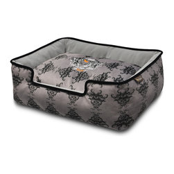 P.L.A.Y. - Lounge Bed - Royal Crest - Black - XL - Royal Crest Lounge Bed (Extra Large) designed by SF local artist (Ivory Black /White); Upholstery-grade velvet, 100% machine washable, eco-friendly and durable construction.