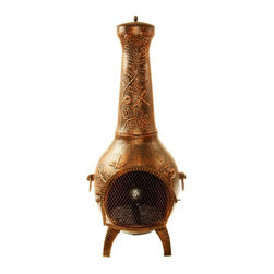 Oakland Living Corp - Oakland Living 53 in. Dragonfly Chiminea - 8017-AB - Shop for Fire Pits and Fireplaces from Hayneedle.com! With the Oakland Living 53 in. Dragonfly Chiminea gracing your patio or deck you can continue partying well after the stars appear even on chilly fall nights. Made from sturdy cast iron for years of use this chimenea boasts embossed dragonfly and floral accents making it the perfect buy for anyone who loves nature. The hardened powder-coated Antique Bronze finish is fade- chip- and crack-resistant and retains its beauty even years down the line. Fit three to five logs into it for warmth or use it with charcoal for cooking your favorite food on the grill!