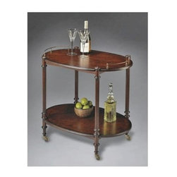 Butler - Solid Wood Oval Serving Cart Table in Cherry - Entertain in elegant style with this solid wood oval serving cart. Ravishing cherry veneer adds sparkle to top and lower shelf. Brass finished casters and gallery lend a classy, antique appearance. Slender wooden legs feature carved details and support tea server on casters.
