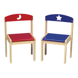 Guidecraft - Guidecraft Moon and Stars Extra Chairs (Set of 2) - Guidecraft - Kids Chairs - G98044 - Cheerful primary colors and whimsical moon and star cut-outs highlight this fun and versatile collection. Great for puzzles coloring or tea time for you and a friend.