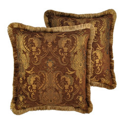 Sherry Kline - Sherry Kline China Art Brown 20-inch Decorative Throw Pillows (Set of 2) - This set of two (2) pillows will make an excellent accessory to any sofa or bedroom set. Their elegant and traditional style are paired with a subtle coloration that allows them the versatility to blend in with any style of home decor.
