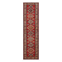 Rugsville - Rugsville  Kazak Red Ivory Wool 16502-28103 Rug 2.8x10.3 - Our Super Kazak collection carries some of the finest pieces weaved in the Orient! These Kazaks are a modern shape