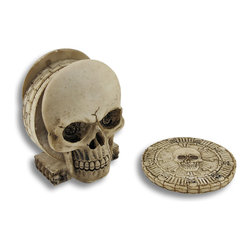 Zeckos - Set of 4 Sinister Skull Coasters with Holder - This set of sinister skull coasters will do double duty in your home or office. Not only will they help to prevent unsightly rings on your surfaces, but serve as a cool piece of art as well when stowed away in the skull shaped holder. Each coaster feature a skull in the center with bones encircling it around the perimeter resembling a medallion. Cast in quality resin in a natural color, they look and feel just like stone. Each coaster is 3 inches in diameter. The entire set with the holder measures 3 5/8 inches high, 3 inches wide and 2.5 inches deep. These are perfect to expand your skull or pirate collection.