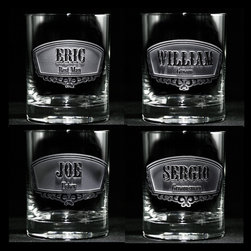 """Groomsmen Gift Ideas, Engraved Best Man Gifts - Groomsmen whiskey glasses, Best Man whiskey glass, Usher and Groom whiskey, scotch or bourbon glasses are custom engraved and personalized with both the title of your groomsman and his name, making these double-old fashioned glasses perfect cool groomsmen gift ideas. These engraved groomsmen gifts are stunning with their deeply engraved background panel that is carved away to leave the words and design raised from the scotch glass surface. Price break will be given as each item is added to the cart. First select the title, then insert the name and hit order. Then continue with each additional title and name and when each one is added to the cart, your quantity price break will activate, bringing the individual price per custom whiskey glass down. These beautifully carved wedding party glasses are truly a keepsake gift to show your appreciation to your groomsmen and best man and is perfect for use during the wedding reception and for that special toast to the bride and groom. These engraved groomsmen scotch glasses are an engraved best man gift he will enjoy for years to come. At 4.25 high x 3.4"""" wide, our whiskey glasses and scotch glasses hold 13.5 oz. Dishwasher safe."""