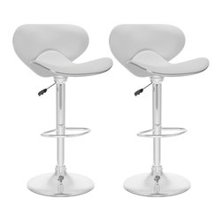 Sonax - Sonax CorLiving Form Fitting Bar Stool in White Leatherette (Set of 2) - Sonax - Bar Stools - B512VPD -Add spice to any bar or kitchen island with the featuring a padded continuous form swan styled 2 piece seat finished in White soft leatherette upholstery accented with chrome. Loaded with visible features like the easy wipe leatherette seat, chrome base and leg support. Adjusts for variable bar height with ease. A great addition to any home!