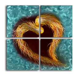 My Art Outlet - Metal Wall Art Decor Abstract Contemporary Modern 4 piece set - A fiery heart swims on a watery background in this original mosaic of four paintings.  Hand sanding an aluminum surface produces the engaging holographic effect. This original work created by a single artist is the perfect centerpiece for your living room wall.
