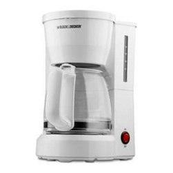 Applica - BD 5c Coffee Maker GlsCrf Wht - Black & Decker 5 cup Coffeemaker with White finish. With a compact design and handy cord storage this coffeemaker is a great value for small spaces such as apartments condos and around the office. With one touch operation and a nonstick keep Hot plate you can have hot coffee anytime without a hassle.  FEATURES Removable Filter Basket Nonstick. Keep Hot Carafe Plate Coffee and Water Carafe Markings Cord Storage. One Piece Cover Easy View Water Window.  This item cannot be shipped to APO/FPO addresses. Please accept our apologies.