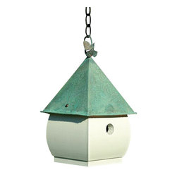 Heartwood - Hadley Park Bird House White with Verdi Roof - This  beautiful  birdhouse  is  the  perfect  addition  to  any  home  or  garden  of  your  choice.  Brilliant  color  and  beautifully  rich  high-contrast  crackle  finish  will  draw  the  positive  attention  into  your  yard.  The  hand-burnished  copper  roof  and  butterfly  hanging  hook  are  the  perfect  accents  for  this  piece.  This  bird  house  is  one  you  are  sure  to  enjoy  in  the  years  to  come.  Available  in  several  colors.                  8x8x15              1-3/8  hole              Available  in  olive  green/gold  crackle,  rusty  red/khaki  crackle,  khaki/rusty  red  crackle  and  white/verdi  roof              Handcrafted  in  USA  from  renewable,  FSC  certified  wood
