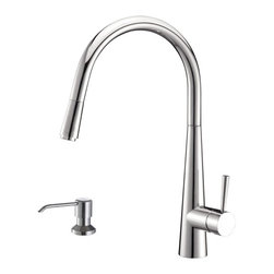 Ruvati - Ruvati RVF1221K1CH Pull-Down Kitchen Faucet with Soap Dispenser-Polished Chrome - This premium Ruvati kitchen faucet from the Cascada collection is constructed of solid brass giving it exceptional durability. The ceramic disc cartridge ensures drip-free functionality. The faucet can be installed into countertops up to two inches thick. Hot and cold water connection hoses are included.