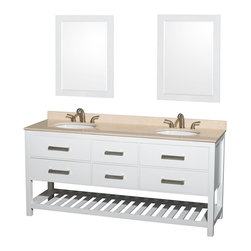 "Wyndham Collection - 72"" Natalie White Double Bathroom Vanity w/ Ivory Marble Countertop & Oval Sink - Classic yet elegantly modern, the Natalie bathroom vanity is a bold statement and a meaningful centerpiece for any bathroom. Inspired by the contemporary American design ethic and crafted without compromise, these vanities are designed to complement any decor, from traditional to minimalist modern."