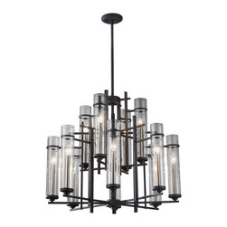 Feiss - Feiss F2629/8+4AF/BS Ethan Forged Iron 12 Light Chandelier - Feiss F2629/8+4AF/BS Ethan Forged Iron 12 Light Chandelier