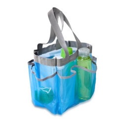Honey Can Do - Honey-Can-Do SFT-01103 Blue Quick Dry Shower Tote - Easily organize all of your bath & shower essentials in this stylish shower tote. Featuring seven storage pockets, this tote easily manages full-sized bottles, cosmetics, shower shoes, and more. The double woven carrying handle makes for convenient transport, then works nicely as a hanging strap. Breathable mesh fabric construction provides fast drying time. The versatile design is perfect for dorm rooms, the gym, camping, and travel.