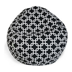 Majestic Home - Indoor Black Links Small Bean Bag - It's ba-a-a-a-ck! Everybody loves to plop onto a beanbag, so this baby is bound to be the most popular seat in your favorite setting. It's made of durable cotton twill, and that chic chain pattern is available in your choice of colors.