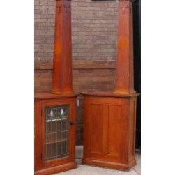early 20th century craftsman style interior residential oak bookcase colonnades -