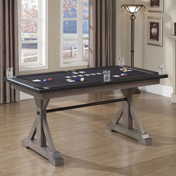 American Heritage - Bandit Game Table - The Bandit Game Table is finished in Glacier and features a massive American Oak trestle leg that was designed for years of uncompromising service and stability. The ample 75 in. x 40 in. padded card playing area with drink holders provides hours of competitive fun.. Dust with damp cloth; clean with water only. 76 in. W x 40 in. D x 36.5 in. H (189 lbs)