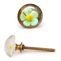 "Knobco - Glass Knob, Light turquoise flower with a yellow center - Light turquoise flower with a yellow center on a glass knob. Unique glass knobs for your kitchen cabinets. Cabinet knobs are approximately 1.4"" in diameter. Includes screws for installation."