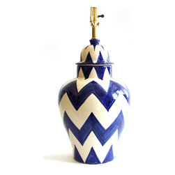 """Zigzag Lamp, Blue/White, 10"""" X 18"""" - This authentic Mexican ceramic piece features a bold zigzag stripe for a more edgy-modern look. Hand-painted in classic blue on white, it will fit right in with traditional Spanish decor, or add some Southwestern charm to more contemporary styles that like bold patterns and colors."""
