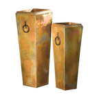 H Potter - Santa Fe Planters - Set of Two - Showcasing their stunning finish, these planters make an attractive addition to your garden, patio, porches, even indoors. They also feature ring handles, which allows for easier portability.