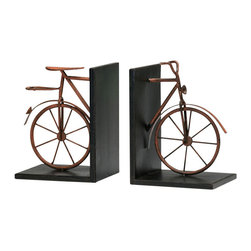 "Cyan Designs - Antique Bicycle Bookends - Add a touch of whimsy to your office with these bicycle bookends.  Inspired by the clean lines of 1920's bicycle designs. The bookends are made of iron and finished with rust to give an antique feel. Adds a hint of industrial chic to a home office. The bookends measure 8.25"" x 6"" x 5""."