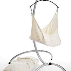 Dream Hammock with Optional Seat and Underlay - If your great modern taste rebels at the thought of an enormous swing in your home, consider this sleek hammock. Safe and sleek, this lightweight aluminum stand securely holds the organic hammock--and your grinning, cooing babe.