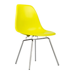Classroom Slope Chair in Pop Yellow - Our Classroom Slope Chair puts a new spin on one of our most iconic designs. Featuring the same smooth polypropylene seat as our Mid-Century Slope Chair, this modern perch swaps out the dowel legs for simple, straight chrome. The traditional base reminds us of chairs you might find in a classroom. The chairs radiate a certain nostalgic charm. The Classroom Slope Chair was inspired by a manufacturing process of the mid-20th century, born from technological advancements that allowed a chair to be constructed out of a single mold. With the original no longer in production, today's designers have improved the process even further, resulting in a comfortable, stylish lightweight chair. We see this chair fitting in at home, in the office, or of course in a classroom setting. Available in a variety of vibrant colors, use it to add a spark of personality and style to your room of choice today.