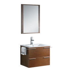 """Fresca - 24 Inch Single Sink Bath Vanity in Wenge Brown - The Fresca Cielo is one of the most compact vanities around.  This 24"""" wall hung model comes with a ceramic sink and matching mirror.  Even small towel bars are attached to both sides of the vanity.  Many faucet models are available. Dimensions: 23.5""""W X 18.5""""D X 20""""H (Tolerance: +/- 1/2""""); Counter Top: White Ceramic with Integrated Sink; Finish: Wenge Brown; Features: 1 Drawer; Hardware: Chrome; Sink(s): White Ceramic Integrated Sink; Faucet: Pre-Drilled for Standard Single Hole Faucet (Included); Assembly: Light Assembly Required; Large cut out in back for plumbing; Included: Cabinet, Sink, Choice of Faucet with Drain and Installation Hardware, Mirror (21.25""""W x 29""""H); Not Included: Backsplash, Linen Cabinet (FST8130 - 15.75""""W X 9.84""""D X 30""""H, FST8140 - 15.75""""W X 9.84""""D X 32""""H)"""