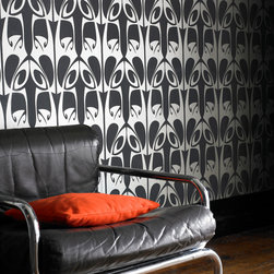 Graham & Brown - Hula Wallpaper - Barbara Hulanicki's signature art neuveau wallpaper. For a modern, geometric look use Hula in black and silver, your walls will love you.