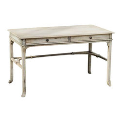 Uttermost Bridgely Aged Writing Desk - Plantation-grown mango wood makes up the solid, carved and dovetail construction with deep-grained mindi veneer in an aged white finish with antique brass drawer pulls. Plantation-grown mango wood makes up the solid, carved and dovetail construction with deep-grained mindi veneer in an aged white finish with antique brass drawer pulls.