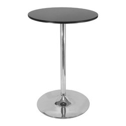 "Winsome - 28"" Round Pub Table with Chrome Leg - Add sleek sophistication to a small kitchen or breakfast nook in lieu of bulky kitchen tables with this 28"" Round Pub Table by Winsome. Reminiscent of classic 50s diners with its shiny chrome construction, this contemporary pub table is the perfect solution for small spaces. Add a couple of adjustable bar stools and your kitchen will be complete! Basic Features: -Round pub table. -Finished in black and chrome. -Table top crafted from MDF. -Pedestal crafted from metal. -Simple design yet with sophisticated feel. -Assembly required. Dimensions: -Table dimensions: 28"" diameter. -Overall Dimensions: 40.16"" H x 28.74"" W x 28.74"" D."