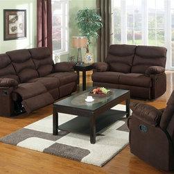 Acme Furniture - Arcadia Chocolate Microfiber Motion Sofa Motion Loveseat Set - - Set includes Sofa and Loveseat
