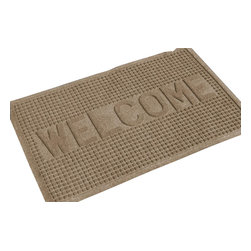 Bungalow Flooring - 24 in. L x 36 in. W Medium Brown Waterguard Squares Welcome Mat - Made to order. Crisp squares design traps dirt, resists fading, rot and mildew. Indoor and outdoor use. 24 in. L x 36 in. W x 0.5 in. H