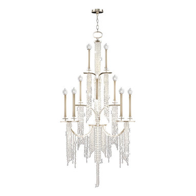 Fine Art Lamps - Cascades Chandelier, 749640ST - Delicate strands of tiny clear crystals drip from each level of this three-tiered silver candelabra chandelier, creating a celestial waterfall effect. You'll love how the light ripples and twinkles through the dangling strands.